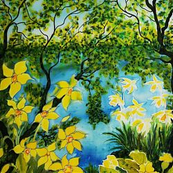 Title: Spring Awakening  Artist: Angela Tuite Year: 2019 Medium:Silk painting  Dimensions:71x56cm Price:€300