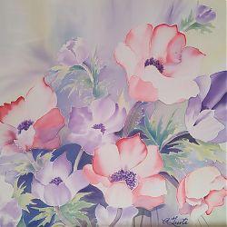 Title:Floral Abundance Artist:Angela Tuite Year:2019 Medium:Silk painting  Dimensions:56x66cm Price:€350
