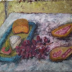 Title: Still Life With Cheese,Grapes  Artist:Adrian Bannon Year:2020 Medium: Oil Dimensions:22 x 34cm Price:€110