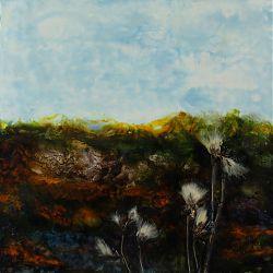 Title:Bog Cotton Artist:Rosemarie Langtry Year:2020 Medium:Encaustic Mixed medium Dimensions:38 x 38 cm  Price:€250