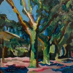Title: Trees in Limoux Artist: Brid Shinners Year: 2019 Medium: Oils and Acrylics  Dimensions: 26 x 18cm   Price: €160