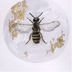 Title:A bee  Artist:Claire Guinan Year:2020  Medium:graphite, watercolours&gold leaf  Dimensions:26 x21 cm  Price:€210