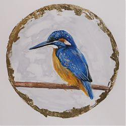 Title:A kingfisher Artist:Claire Guinan Year:2020  Medium:graphite, watercolours&gold leaf  Dimensions:26 x21 cm  Price:€210