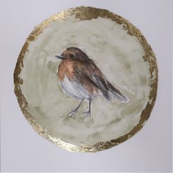 Title:A robin  Artist:Claire Guinan Year:2020  Medium:graphite, watercolours&gold leaf  Dimensions:26 x21 cm  Price:€210