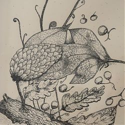 Title:Autumn 3 with Log Artist:Vernice Darney Year:2019 Medium:Pen & Ink on Paper Dimensions:37 cm x 28 cm Price:€50