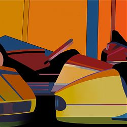Title:Bumper Cars Artist:Terry Murphy Year:2017 Medium:Giclèe print Dimensions:55x73cm Price:€130