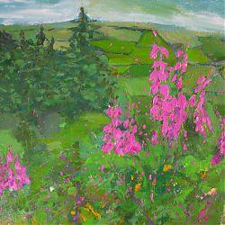 Title:Foxgloves on Sliabh Ban Artist: Siobhan Cox Carlos Year:? Medium:Mixed Media on Watercolour Paper Dimensions:49 x 64 cm  Price:€450