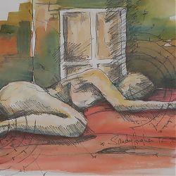 Title:Sleeping Artist:Sandy Hughes Year:2012 Medium:Watercolour Pen & Ink Dimensions:38cm x 48cm Price:€300