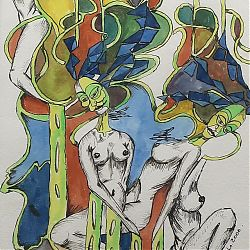 Title: Life Begins Artist: Sandy Hughes Year:2000 Medium: Watercolour Pen & Ink Dimensions:36cm x 46cm Price:€350