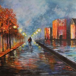 Title:Evening Walk Artist:Pauline Burke Year:2020 Medium:Acrylic Dimensions:76cm x 50cm Price:€110