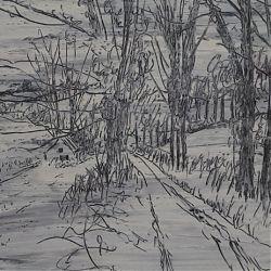 Title:Derrygoss Artist:Paul Galligan Year:2015 Medium:Oilbar on Cotton Paper Dimensions:15cm x25.5cm Price:€295