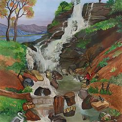 Title: Torc Waterfall  Artist: Laura Reilly Year: 2010 Medium: Watercolour on paper Dimensions: 30x40cm Price: €275