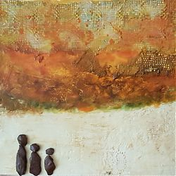 Title:The Leaving Artist:Ursula Ledwith Year:2019 Medium:Encaustic and mixed medium Dimensions:38 x38 cm Price:€250