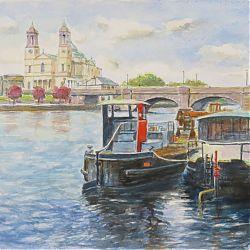 Title:Barges,Athlone Artist:Tòmas O`Maoldomhnaigh Year:2020 Medium:Watercolour Dimensions:30x40cm Price:€350