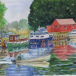 Title:Brick Island Athlone Artist:Tòmas O`Maoldomhnaigh Year:2020 Medium:Watercolour Dimensions:30x40cm Price:€350