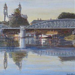 Title:Evening, Athlone Artist:Tòmas O`Maoldomhnaigh Year:2020 Medium:Oil on canvas Dimensions:30x40cm Price:€400