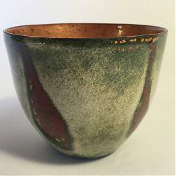 Title:Lichen I Artist:Susan Mannion Year:2019 Medium:Enamel on Copper Vessel Dimensions:6cm x 6cm x 6cm Price:€110