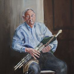 Title: Liam O'Flynn  Artist: Gerry O'Connor  Year: 2020  Medium:oil Dimensions: 55x45cm Price: €800