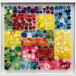 Title: Colour Block Artist: Jane Walsh Year: 2019 Medium: Clear Resin and Reclaimed Buttons Dimensions: 58 x 58cm Price: €400