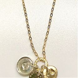 Stamped Disc Neckpiece  Michele Fox Bell & Simon Bell  2020  9 CT Yellow Gold and Sterling Silver  €169