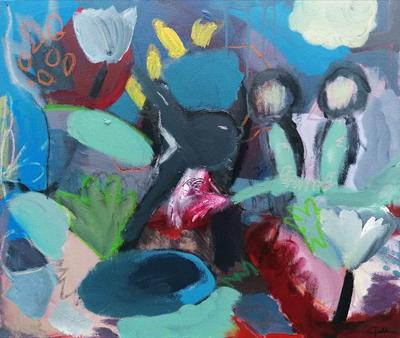 Adam %26 Eve%2C Acrylic%2C oil bar%2C charcoal on canvas by Ciara Tuite