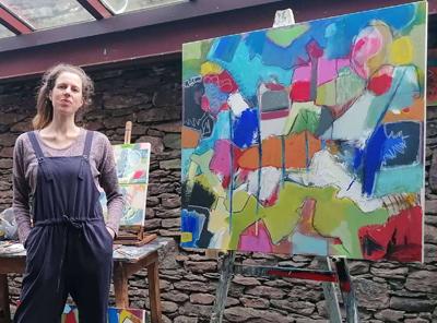 Abbey Road Artists' Studios Resident Artist Ciara Tuite alongside her artwork