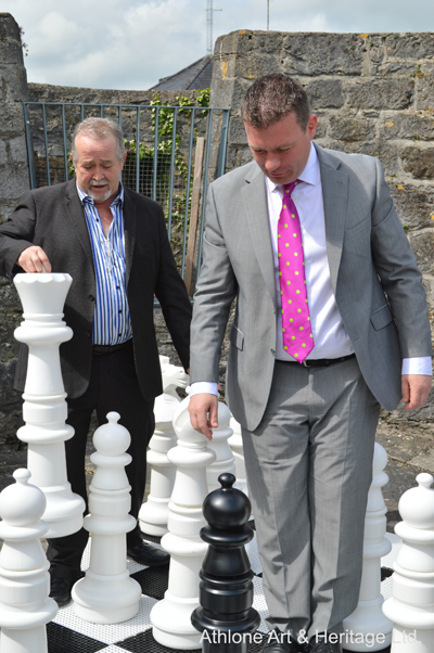 Minister of State Alan Kelly and former councillor Jim Henson enjoying a game of chess at Athlone Castle Visitor Centre
