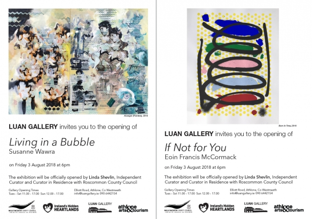 Invitation for upcoming exhibitions by Eoin McCormack and Susanne Wawra