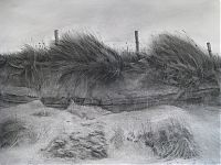 Dune iv. Charcoal and carbon on  Arches paper. 55x74cm