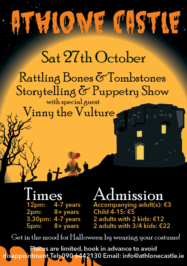 Halloween flyer for Rattling Bones & Tombstones storytelling and puppetry show