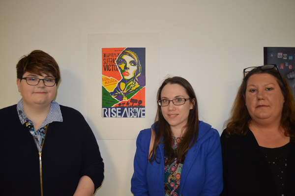 The Three winners of the Art & The Vote Campaign Competition; Gemma Mc Kenny, Marilyn Gaffney and Denise Le Blaca at Luan Gallery