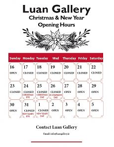 Luan Gallery Christmas and New Year 2018 Opening Hours