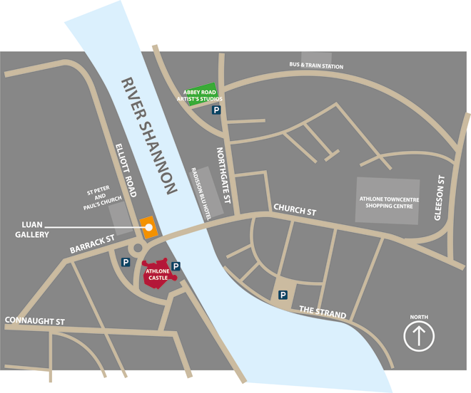 Map of Luan Gallery and Athlone Castle in Athlone