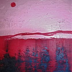 Title: Sunset in Bronze  Artist: Catherine Brennan Year:2020 Medium: Acrylic and Spray Paint on canvas  Dimensions:70 x 50 cm Price:€150
