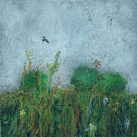 Title: Meadow Flowers with Bird Artist: Catherine Desmond Year: 2017 Medium: Mixed media oil and cold wax Dimensions: 16 x 17 cm Price:€180