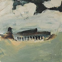 Title: Battery Shed  Artist: Ann Wingfield Year:2020 Medium: oil and graphite  Dimensions:15.24cms x 15.25cms Price:€250