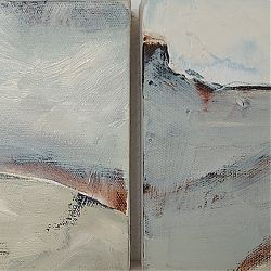 Title: The Rise to the Flat Land Artist: Ann Wingfield Year:2020 Medium: oil and graphite  Dimensions:15.24cms x 30.48cms Price:€440