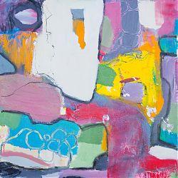 Title: Bubblegum Borders Artist: Ciara Tuite Year: 2019 Medium: Acrylic, Oil Bar & Charcoal on Canvas Dimensions: 60 x 50cm Price: €480