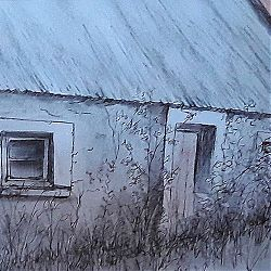 Title: Blaney's Cottage Artist: Dee Mc Kiernan Year: 2019 Medium: Pen, Ink & Charcoal Dimensions: 28 x 36cm Price: €95