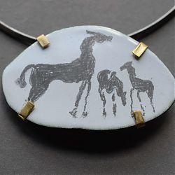 Title: Horses Artist: Fiona Wood Year: 2020 Medium: 18ct Gold, Silver, Vitreous Enamel Graphite Pendant/Brooch Dimensions: 4cm x 6cm Price: €800