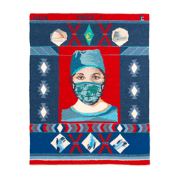 Title: Phase 1 – Celebrating Frontline Workers in Health Care Artist: Frances Crowe Year: 2020 Medium: Handwoven Tapestry Dimensions: 100cm x 90cm Price: €3500