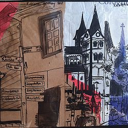 Title: Koblenz Diary Artist: Holly Mulhern Year: 2019 Medium: Pen, Watercolour, Collage Dimensions: 22 x 15.5cm Price:€30