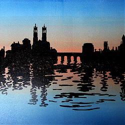 Title: Sunset Over Athlone Artist: Jill Parkinson Year: 2018 Medium: Linocut Print Dimensions: 38x28cm Price:€120 6/25