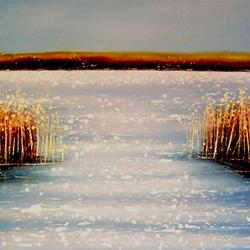 Title: Between The Reeds Artist: Liz Johnson Year: 2007 Medium: Acrylic on Canvas Dimensions: 50 x 120cm Price:€570