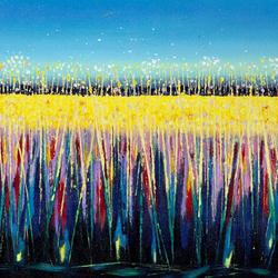 Title: Summer Rushes, Ennell Artist: Liz Johnson Year: 2007 Medium: Acrylic on Canvas Dimensions: 41 x 81cm Price:€450